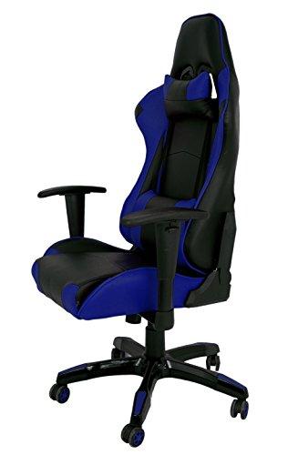 La Silla Española Die spanische Banken Bürostuhl Gaming Stuhl mit Armlehnen, Kunstleder, Schwarz und Blau, 51x 48x 130cm