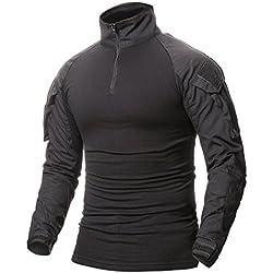 OranDesigne Homme Chemises Combat Militaire Airsoft BDU Shirt Tenue Camouflage Uniforme Tactique Séchage Rapide avec Poches Coudières Manches Longues Chemise Multicam B Noir Medium