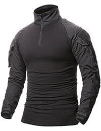 ShallGood Herren Outdoor Military Schlank Passen Taktisch T-Shirt Militär  Tarnung Jacke Kampf Lange Hülse 2cd62e421e