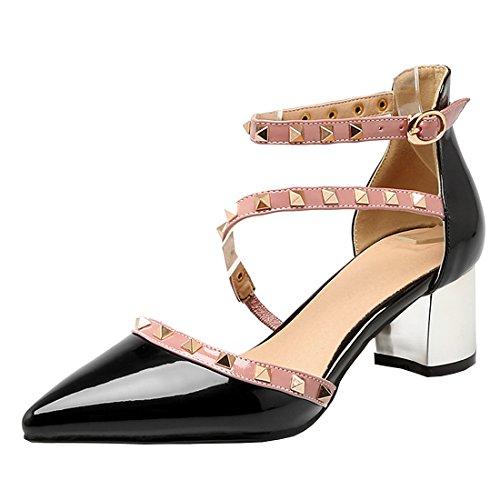 YE Damen Chunky Heels Knöchelriemchen Pumps mit Blockabsatz und Nieten 5cm Absatz Schuhe
