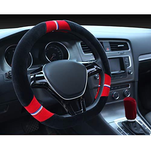 BOYH Typ D Plüsch Auto Lenkradhüllen Abdeckung Lenkradbezug Für Auto Zubehör Dimension:38Cm/15Inch,Red
