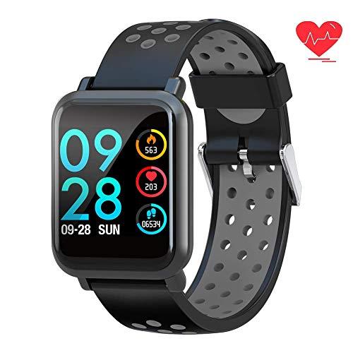 Fitness Tracker Smart Watch Wasserdichter Aktivitäts-Tracker mit Herzfrequenzmesser Kalorien-Schrittzähler SMS Call Smart Bracelet für iOS Android Phone (Samsung Rugby Telefon)
