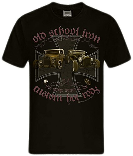 Hot Rods Rat Rods Street Rod Skull US Oldtimer Rockabilly Rodders Shirtmatic Shirt hot rod cross schwarz