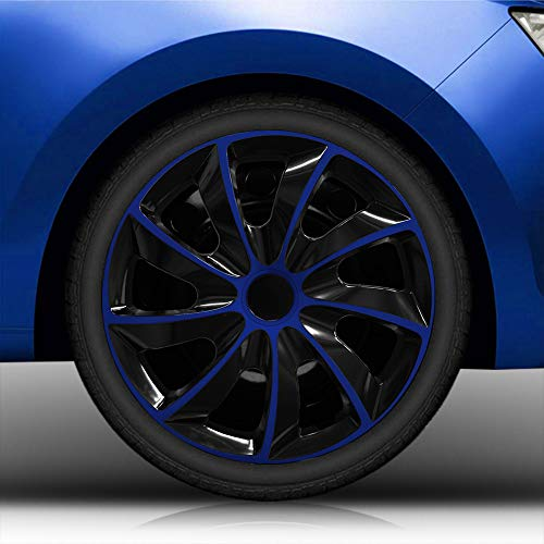 """Autoteppich Stylers (Größe wählbar) Bundle 16\"""" 16 Zoll Radkappen/Radzierblenden RK2 Bicolor (Schwarz-Blau) passend für Fast alle Fahrzeugtypen - universal"""