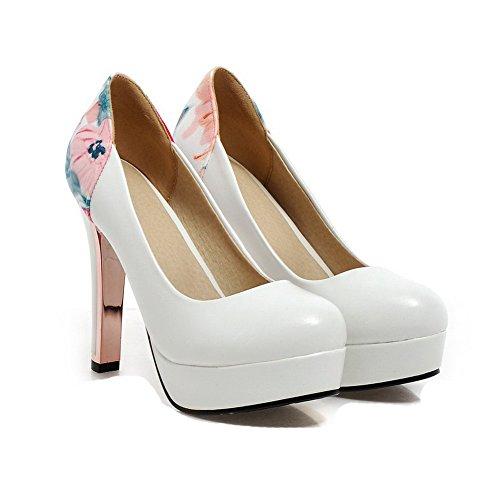 Voguezone009 Femme Cuir Haut Pu Chaussures Légeres Talon Tire À qAwntr4OA