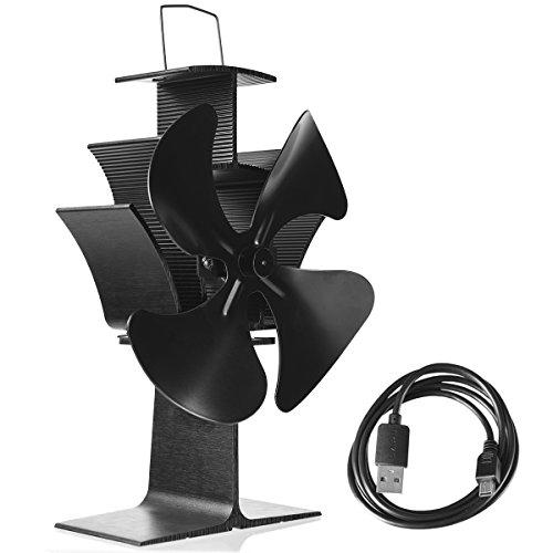 or ohne Strom Kaminlüfter Ventilator für Kamin Holzöfen Öfen 4 Blätter schwarz mit USB ()