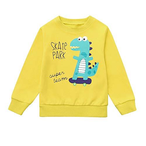 XXYsm XXYsm Kinder Baby Jungen Langarmshirt Sweatshirt Pullover Shirt Top T-Shirt mit Print Gelb ?90/18-24 Monate