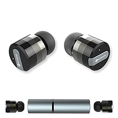 Rowkin Bit Stereo Bluetooth Headphones, Wireless Earbuds with Mic. Smallest Cordless Hands-Free In-Ear Earphones Headsets with Portable Charger & Noise Reduction for Running and iPhone.