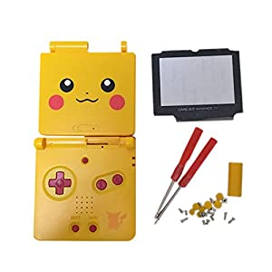 Meijunter Ersatz Gehäuse Hülle Housing Shell Case Cover mit Bildschirm Glaslinse & Schraubenzieher Tool Ersatzteile für Nintendo Gameboy Advance SP GBA SP Console (Rot Taste)