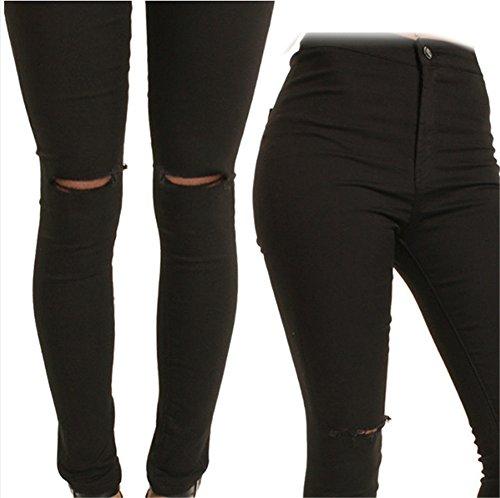 Interesting® Frauen mit hoher Taille dünne Jeans-dünne Capris Knie Heftiges Loch Vintage-Denim-Bleistift-Hosen (Dünne Hoch Knie)