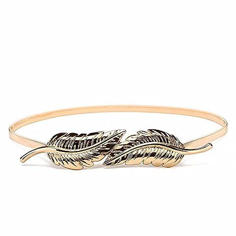 LONFENNE Accessoires de Mode ceinture femme ceinture en métal en feuilles décoration robe stretch chaîne tour de