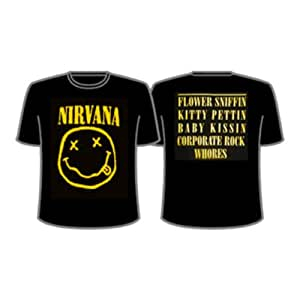 "T-Shirt Homme Noir Nirvana ""Smiley (Recto/Verso)"" (Taille M)"