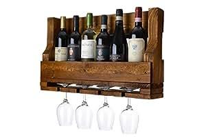 Cantinetta portavino portabottiglie da parete con portabicchieri e calici bellpallets noce - Porta vino da parete ...