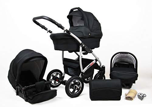 Kinderwagen Largo,3 in 1 -Set Wanne Buggy Babyschale Autositz mit Zubehör Black
