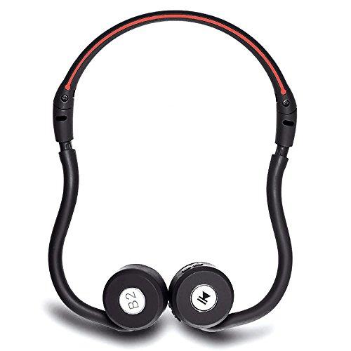 Cuffie conduzione ossea teepao auricolari wireless bluetooth 4.0 stereo cuffie stereo con microfono, per iphone 7/7 plus/6/6 plus/6s/6s plus 5s 5 samsung galaxy s6 edge xiaomi huawei(nero+rosso)