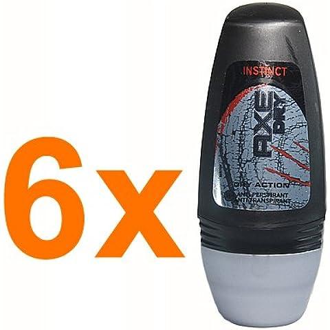 6x Axe Deo Roll on Dry Instinct / Anti-Perspirant / Anti-Transpirant / 24h Deo-Schutz / gegen Schweiß- und Geruchsbildung / je 50ml