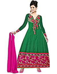 Florence Women's Green Georgette Embroidered Anarkali Suit(SL008_Green)