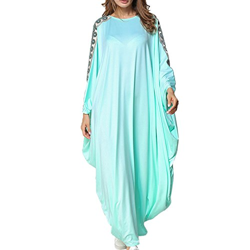 n Dress, Cotton Modesty Muslim Jilbab Robes Long Sleeved Maxi Dress,One Size,Blau,OneSize (Typ Kostüm Kaftan)