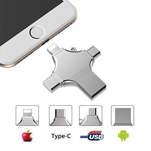 Externer Speicher iPhone, USB Stick 32 gb, 4 in 1 USB Memory Stick- USB Flash Drive Metall Speicherstick Speichererweiterung für Apple iPhone iPad Android Notebook USB 2.0 Silber