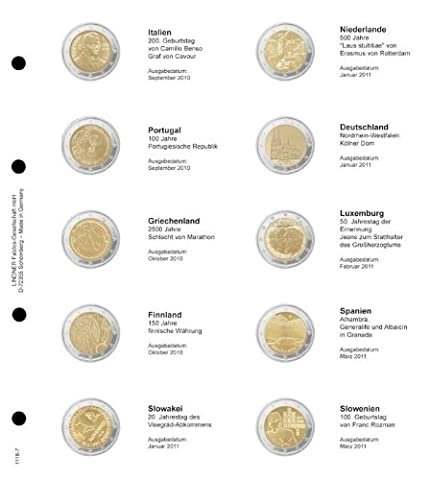 Feuille numismatique pré-imprimée 2-Euro chronologique: Italie 2010 - Slovénie 2011