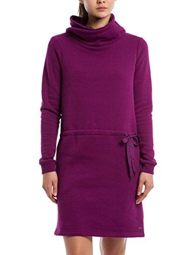 Bench Damen Kleid Funnel Sweat Dress, Violett (Plum Caspia Pu11461), Small (Herstellergröße: S)
