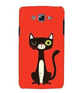 FUSON Cat Flat Modern Design 3D Hard Polycarbonate Designer Back Case Cover for Samsung Galaxy J5 (2015) :: Samsung Galaxy J5 Duos (2015 Model) :: Samsung Galaxy J5 J500F :: Samsung Galaxy J5 J500Fn J500G J500Y J500M