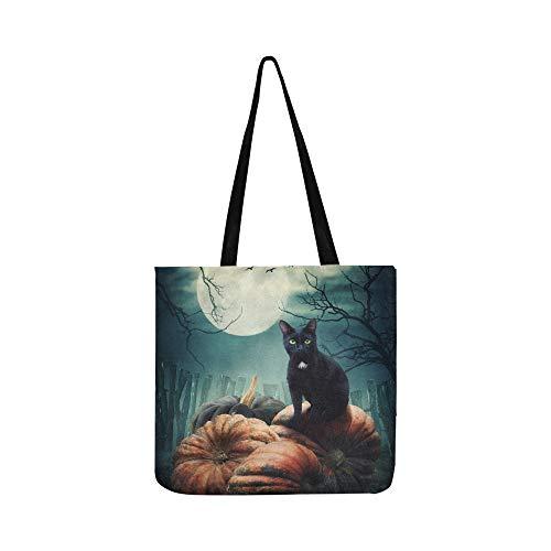 Der magische Wald ist in der Nacht erschreckend Canvas Tote Handtasche Schultertasche Crossbody Taschen Geldbörsen für Männer und Frauen Einkaufstasche (In Halloween Den Magischen Wald)