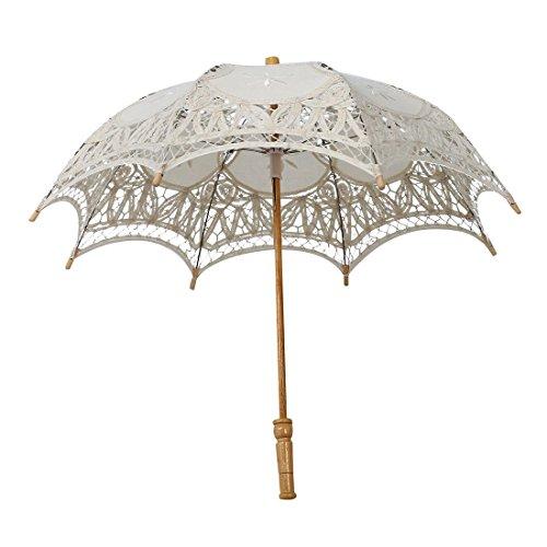 Spitze Sonnenschirm - SODIAL(R) Regenschirm Schirm Victorian Spitze Sonnenschirm Hochzeit Braut Umbrella Elfenbein 30x51cm