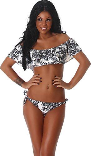 PF Fashion delle donne del bikini Swimwear costume da bagno Off-the-Push-up slip Top volant palme raccolti Aztec Crema