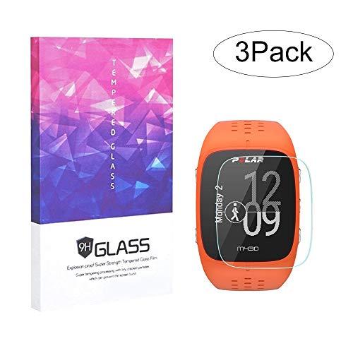 BECEMURU Garmin Polar M400/M430 Protector de Pantalla 9H Pantalla de Cobertura Completa Protector de Cristal Templado para Garmin Polar M400/M430 Reloj de Running con GPS (Paquete de 3)