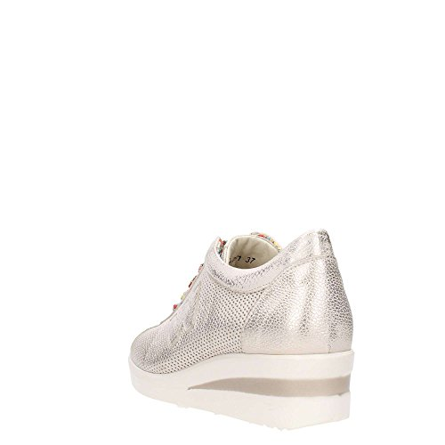 Sneakers Melluso in pelle beige spazzolata effetto oro con zeppa Platino