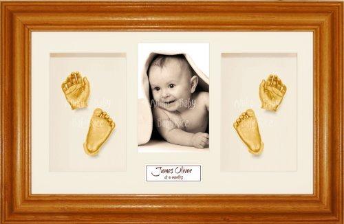 Anika-Baby BabyRice Guss 4Öffnungen Kiefer honig, cremefarbenes Passepartout/Hintergrund creme/Malerei Gold 36,8x 21,6cm