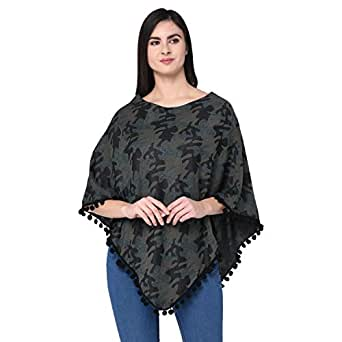 SKiDlers Women's Reversible Cape Poncho Shrug for Pleasant Monsoon/Women's Reversible Cape Ponchu Shrug/Women's Reversible Poly Cotton Camouflage Army Military Print Poncho -Pack of 1