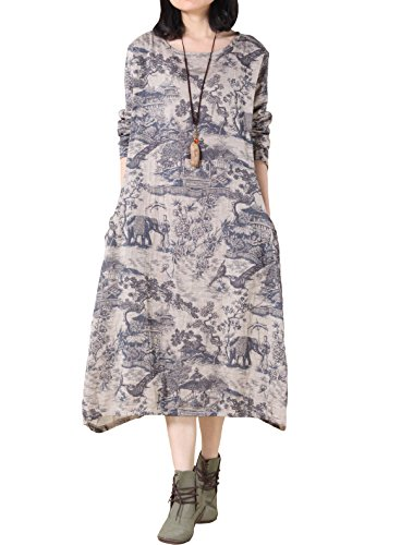 Voguees Women's Cotton Linen Printing Dress Robe with Pockets Blue
