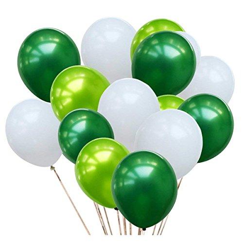 Erosion 50 Stück 12 Zoll grün und weiß Ballons, 3 Farbe weiß hellgrün Luftballons und dunkelgrüne Luftballons für Geburtstag Hochzeit Frühling Dekorationen