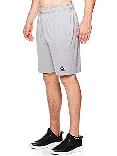 Reebok Herren Shorts für Workout Gym & Running mit elastischem Kordelzug und Taschen - grau - X-Groß (Pro-5-basketball-shorts)