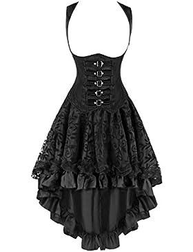 Kimring Women's 2 Pcs Steampunk Gothic Underbust corsé & Lace Dancing Skirt Set