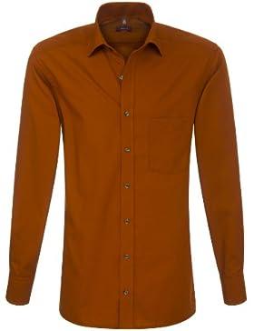 ETERNA Herren Langarm Hemd Modern Fit Uni Popeline orange / rost 1100.85.X187