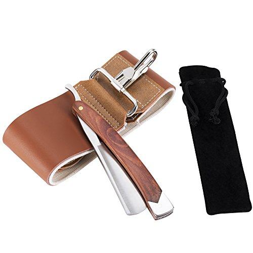 AKUNSZ Rasiermesser Set mit Rotholz Griff - Rasiermesser mit Streichriemen- Premium Rasiermesser mit Etui - Rasiermesser für Anfänger und Barbier - gründliche Rasur - Herren Rasiermesser-set