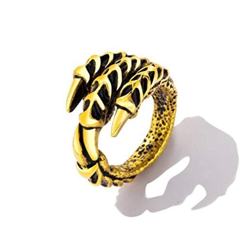 Thumby Western Titan Stahl Ring Herren Krallen Ring Persönlichkeit Herrschsüchtig Einzigen Ring Krallen Zeigefinger Schmuck, Retro-Stil, Partei Flachen Ring, Geometrie, Gj627, 18 Karat Gold pl (Ringe Western Herren)