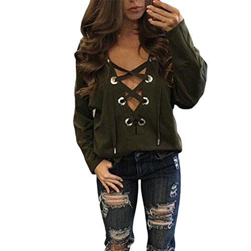 EVA tops mit schnürung Damen Cropped Langarm T Shirt Kurz Schmucklos tops mit spitze damen (Grün, XL)