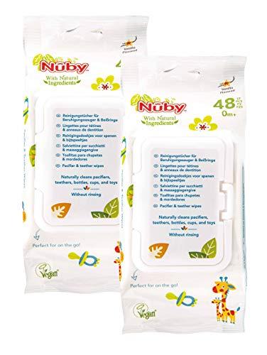 Nuby All Natural Antibakterielle Feuchttücher für Schnuller und Beißringe (Doppelpack)