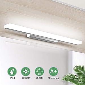 LED Spiegelleuchte 40cm Schminklicht Badleuchte Wandleuchte IP44 Wasserdichte Badlampe für Badzimmer und Wandbeleuchtung, 8W 700lm, Weißlicht 6000K, 220V SOLMORE