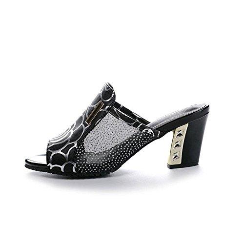 Heart&M Mesh Rhinestone des femmes de grande taille talon Chunky talon Moyen Sandals Métal Décoration Chaussons Black