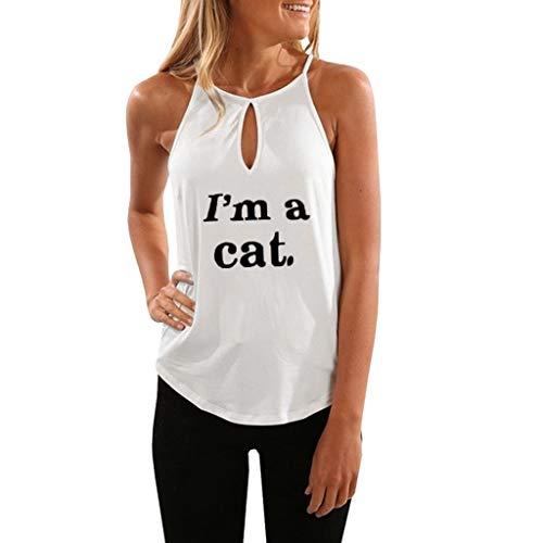 HULKY Chic-T-Shirt Trägershirt Damen Sommer Einfarbig Elegante Lose ärmellose Tee Shirt Vestement Tunika Top Crop Vest Bluse(weiß,L)