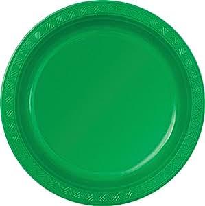 8 Assiettes en plastique vert émeraude