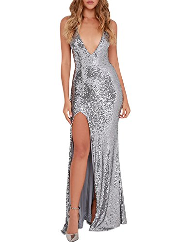 Azbro Women's Party Sequin High Slit Deep V Prom Dress Grey