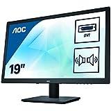 AOC E975SWDA 47 cm (18,5 Zoll) Monitor (VGA, DVI, 1366x768, 60 Hz, 2ms Reaktionszeit) schwarz