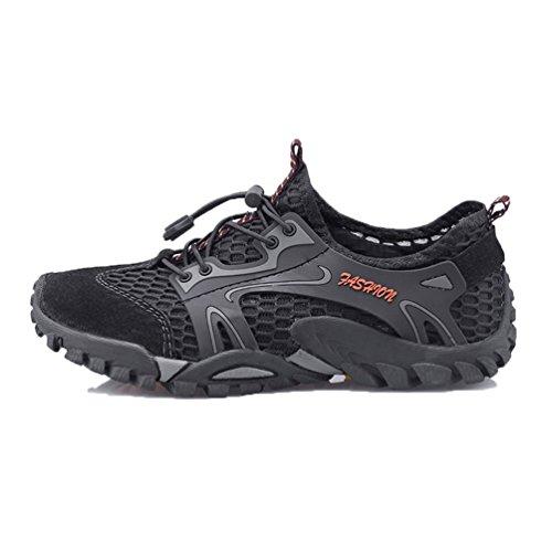 Flarut Herren Sommer Trekking Sandale Wanderschuhe Super Atmung Draussen Hiking Schuhe Mesh Vamp Wasserschuhe Sport Laufen Klettern(schwarz,45)