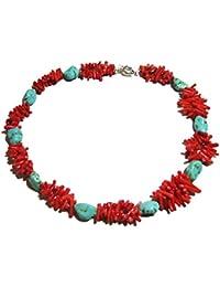 TreasureBay Collar de turquesas y corales naturales, incluye caja de regalo